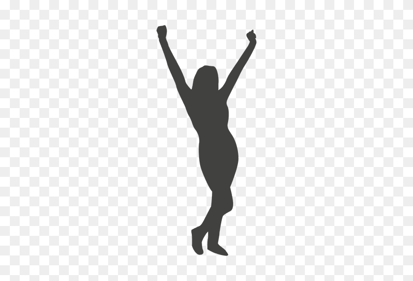 Woman Celebrating Silhouette - Mujer PNG