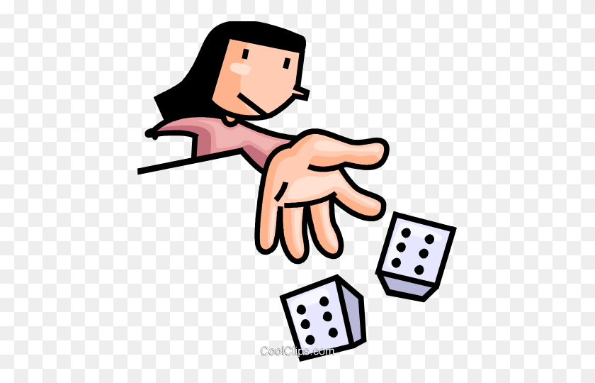 Woman Rolling The Dice Royalty Free Vector Clip Art Illustration - Rolling Dice Clipart