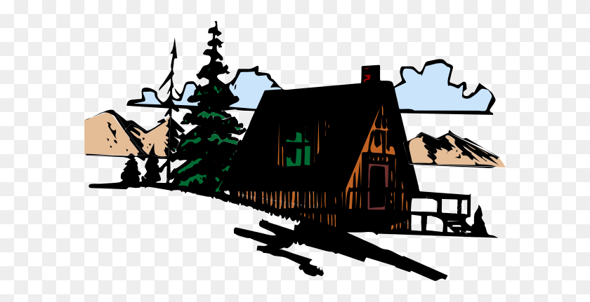 Wooden Cabin In The Mountains Png, Clip Art For Web - Mountains Clipart PNG