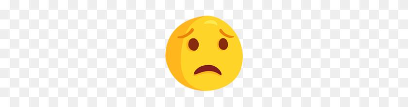 Worried Face Emoji On Messenger - Worried Emoji PNG