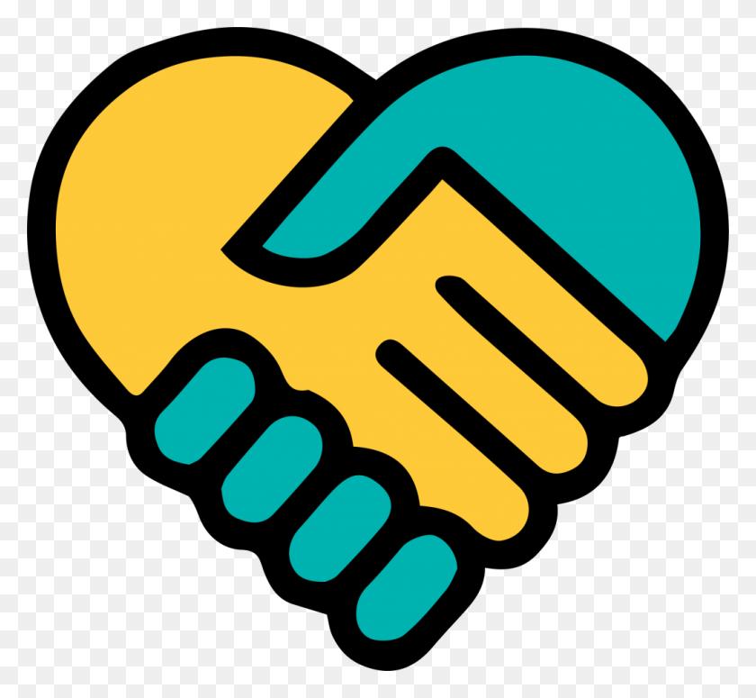 Yellow Blue Holding Hands Heart - Hands Holding Heart Clipart