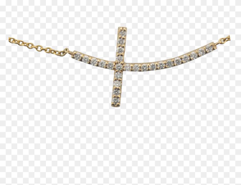 Yellow Gold Sideways Cross Diamond Necklace Scottsdale Fine - Gold Cross PNG