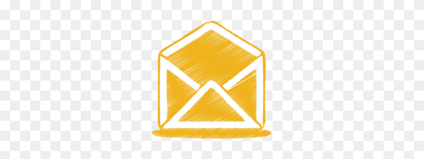 Yellow Mail Open Icon Origami Colored Pencil Iconset Double J - Yellow Line PNG
