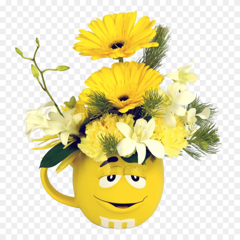 Yellow Mampm Character Flower Mug Designed - Mandm PNG