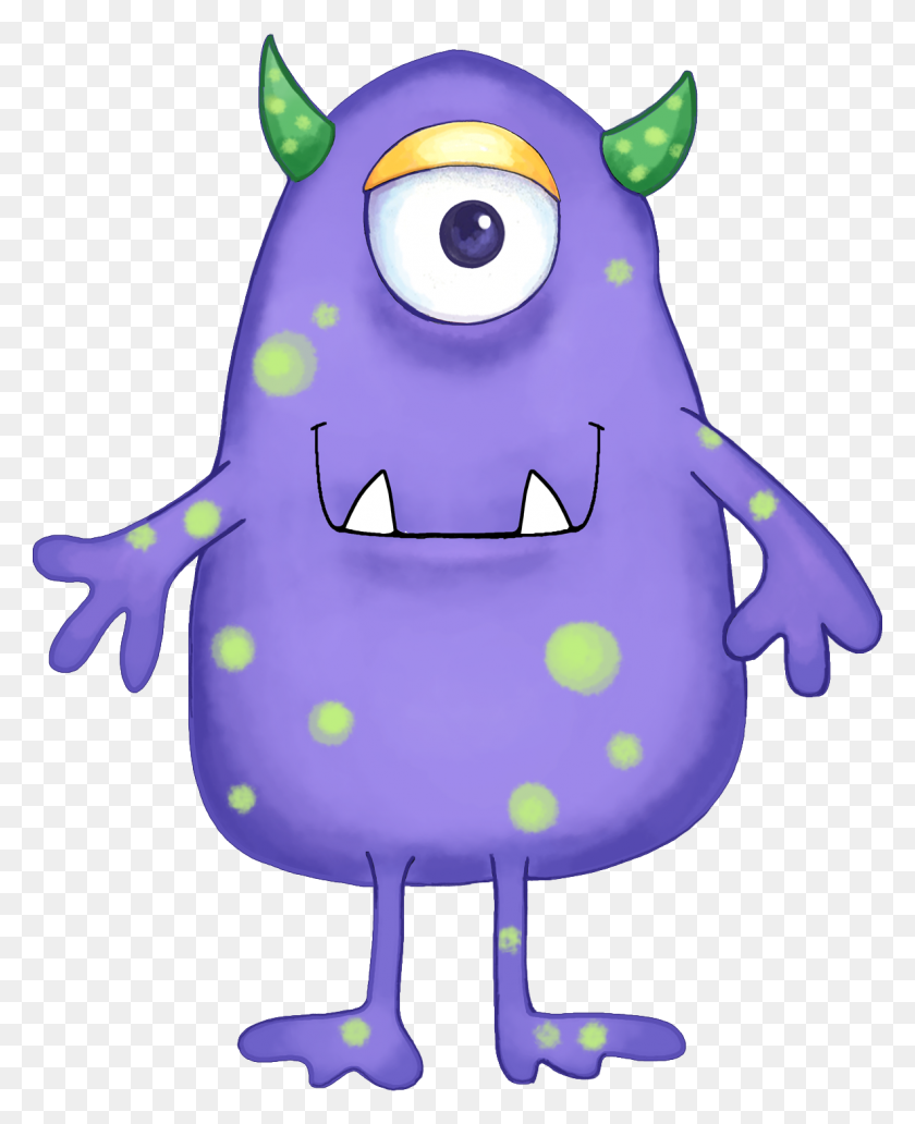 1183x1475 Your Free Art Cute Blue, Purple And Green Cartoon Alien Monsters - Monster Face Clipart