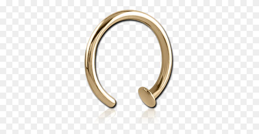Zircon Gold Pvd Coated Surgical Steel Grade Open Nose Ring - Nose Ring PNG